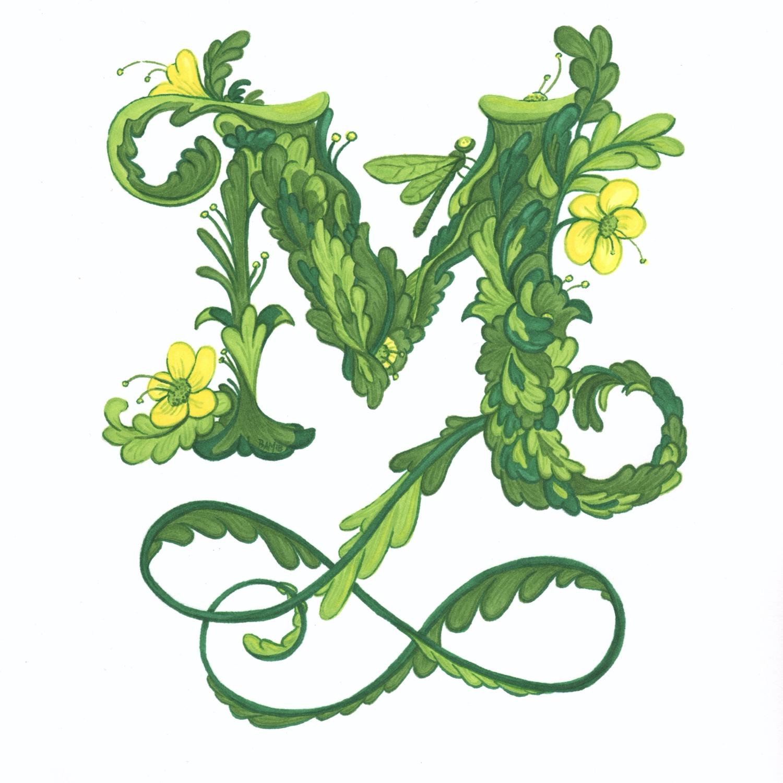 Leafy Letter M
